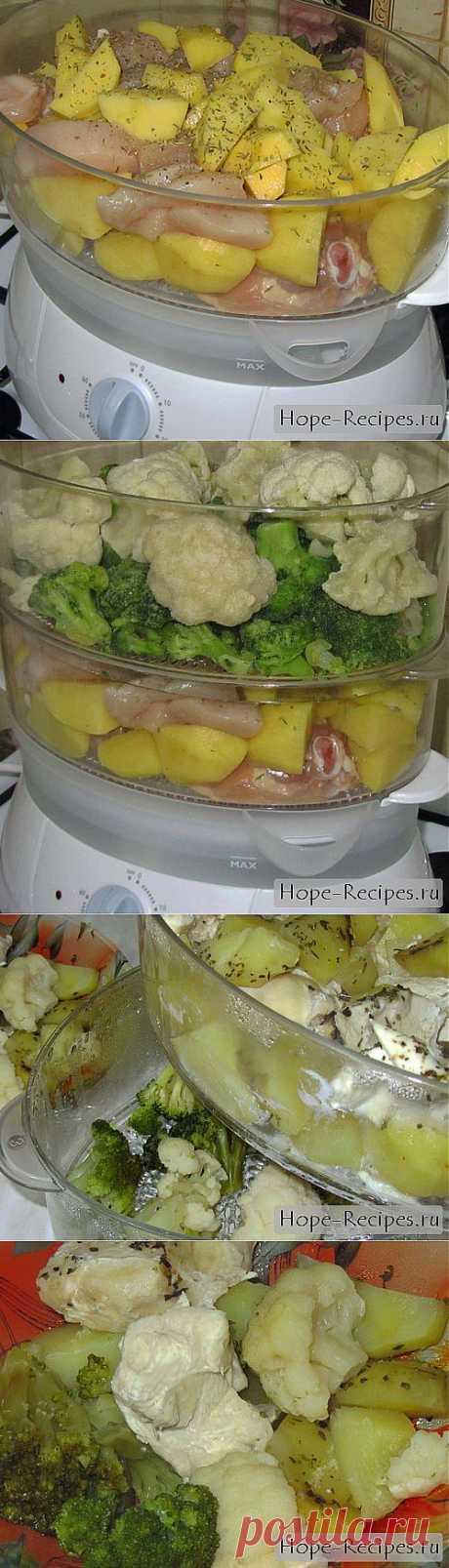 Курица в пароварке с брокколи, цветной капустой и картофелем © Кулинарный блог #Рецепты Надежды