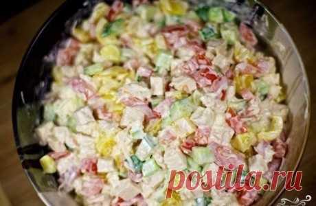Салат с курицей и овощами  Ингредиенты:  ●Куриное филе — 300 Грамм Показать полностью…