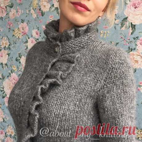 """SWEATER \ud83c\udf80 the CARDIGAN \ud83c\udf80 KNITTING in Instagram: \""""Well, here and the next jacket with ruches in beautiful gray color in finished form:) Specially I show such close up that it was visible …\"""" 3,224 marks \""""Are pleasant\"""", 95 comments — the SWEATER \ud83c\udf80 the CARDIGAN \ud83c\udf80 KNITTING (@about_my_knitting) in Instagram: \""""Well, here and the next jacket with ruches in beautiful gray color in finished form:) Specially …\"""". Ideas."""
