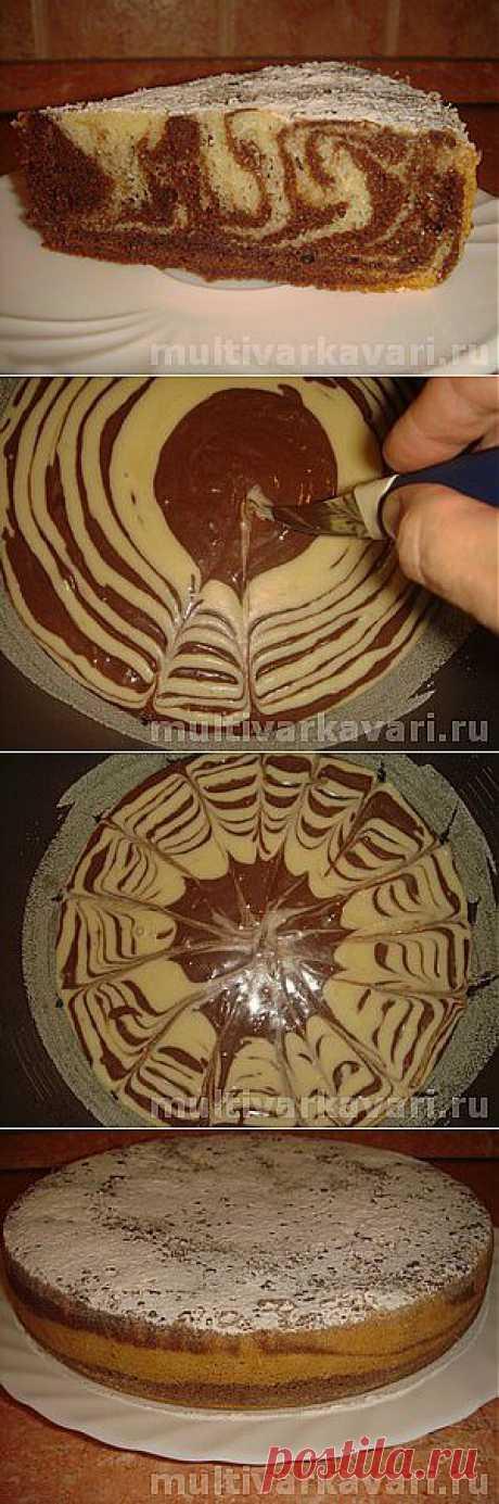 Кекс Зебра в мультиварке Panasonic - пошаговый рецепт с фото. А может это и торт или пирог :)
