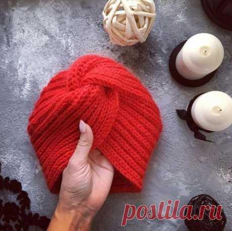 Вязаная спицами женская шапка чалма: схема узора, фото и видео мк