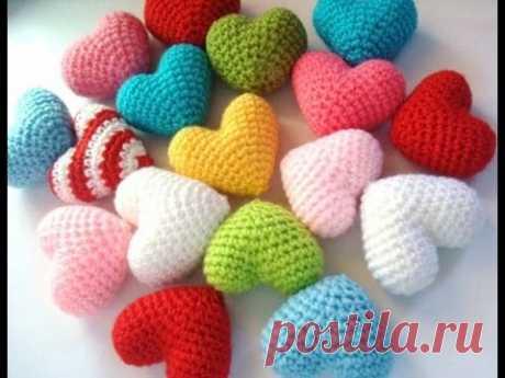 Объёмное сердце амигуруми(вязание крючком)-замечательный подарок ко дню влюбленных(День Святого Валентина),так же хорошо дарить вместе с какой то игрушкой ам...