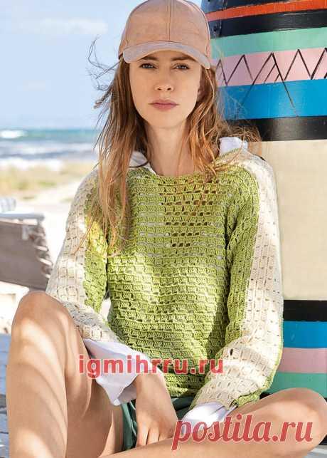 Двухцветный хлопковый пуловер-кимоно. Вязание крючком со схемами и описанием
