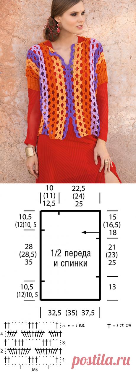 Ажурный полосатый пуловер с короткими рукавами - схема вязания крючком. Вяжем Пуловеры на Verena.ru