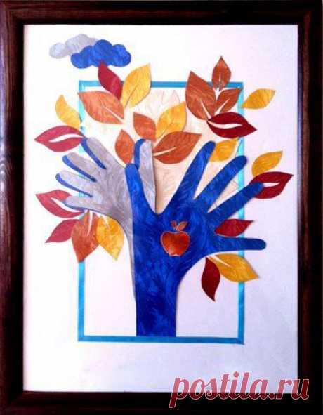 Осенняя аппликация: деревья из ладошек — Поделки с детьми