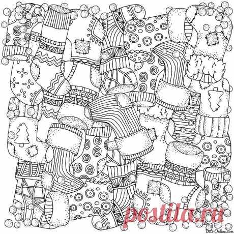 Зима в раскрасках для взрослых - 6 шаблонов для творчества