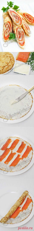 Рецепт: Блинчики со сливочным сыром и семгой