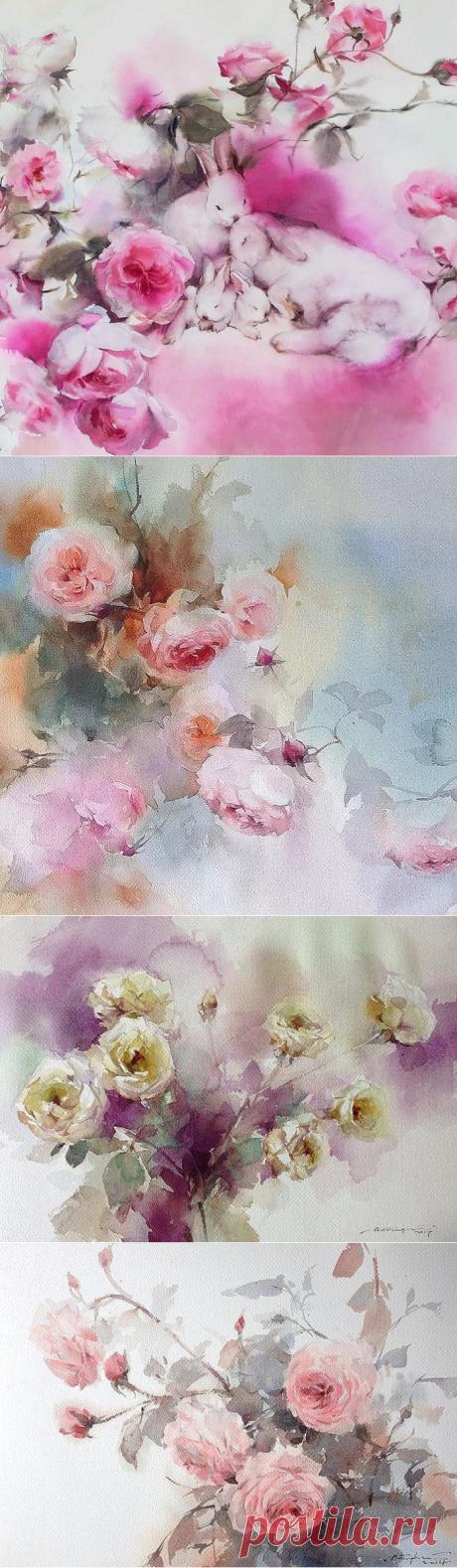 Акварельные цветы Фатчерефен Чантен