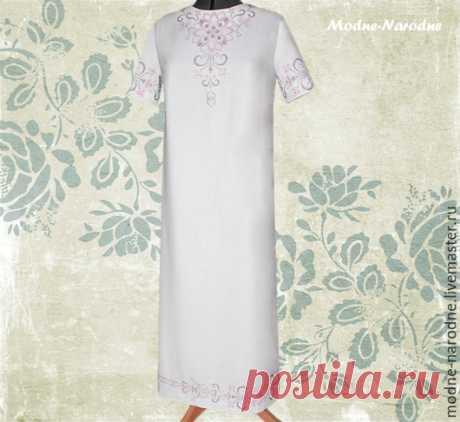 Купить платье в пол, Жемчужное 3, длинное платье, бохо платье, вышиванка,этно - платье