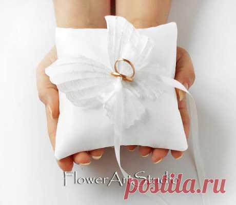 Wedding Ring Pillow White Butterfly Ring Pillow White Wedding