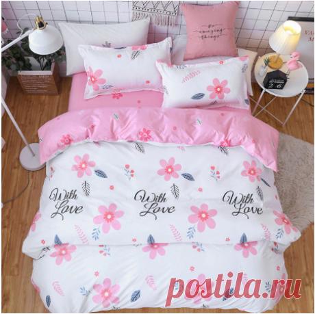 Розовый цветок 4 шт для девочки, мальчика, ребёнка, покрывало для кровати, набор пододеяльников для взрослых, Детские простыни и наволочки, одеяло, Комплект постельного белья 2TJ 61018 Наборы постельного белья    АлиЭкспресс