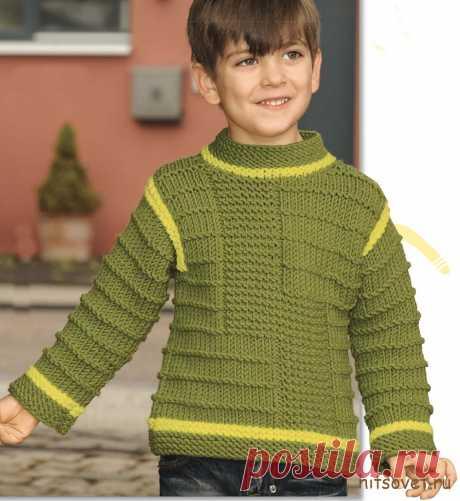 Свитер для мальчика спицами структурным узором - Хитсовет