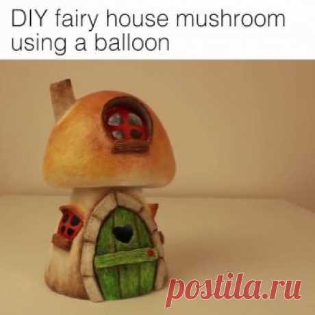 DIY fairy house mushroom using a balloon