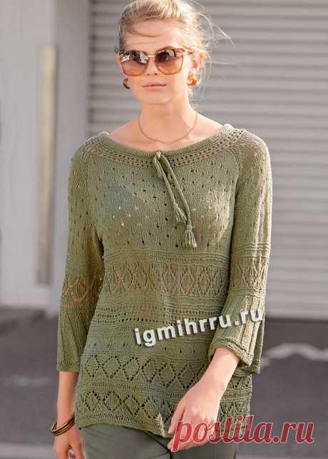Шелковый пуловер с ромбами и ажурными узорами. Вязание спицами со схемами и описанием