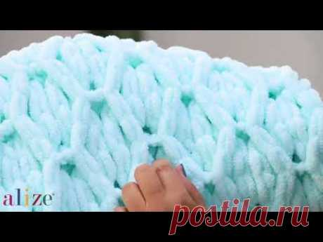 Alize Puffy ile Baklava Örneği Battaniye Yapımı-Making Diamond Knitting Technique Blanket
