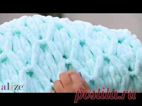 Alize Puffy ile Baklava Örneği Battaniye Yapımı-Making Diamond Knitting Technique Blanket - YouTube
