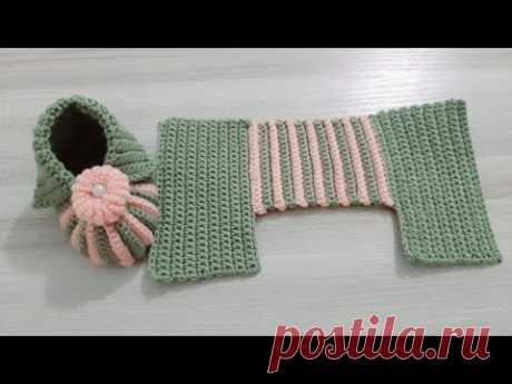 طريقة عمل حذاء كروشيه بقطعة واحدة / سليبر / لكلوك كروشيه / crochet baby booties /baby shoes, one piece