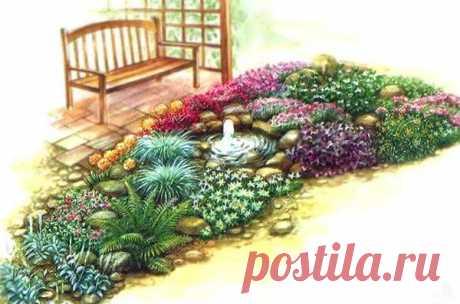 Красивый цветник «Розовые мечты» с маленьким фонтаном - Дача Своими Руками В вашем саду могут быть не только классические цветники их любимых вами однолетников и многолетников