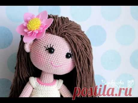 (6) Крепление волос к готовой голове вязаной куклы без узелков и пришивания - YouTube
