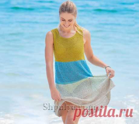 Летнее четырехцветное платье А-силуэта спицами — Shpulya.com - схемы с описанием для вязания спицами и крючком