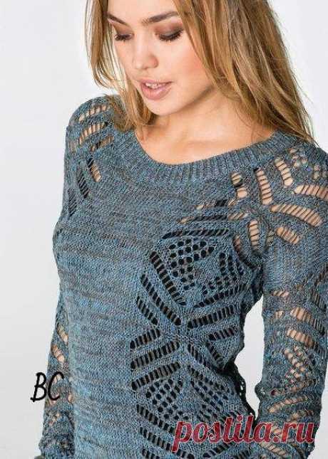 Пуловер с ажурными боковыми вставками. Красивый пуловер спицами  