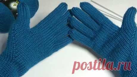 Перчатки с анатомическим пальцем. Вязание спицами.