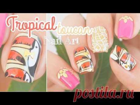 "Fun Tropical Nails || using MoYou London ""Tropical 05"" plate"