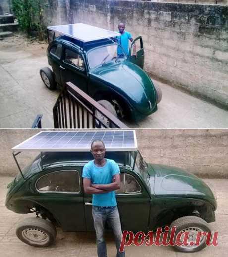 Нигерийский студент из хлама построил автомобиль, работающий на энергии солнца и ветра