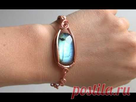 Bracelet with Cabochon Half Cuff Half Chain Wire Wrap Tutorial