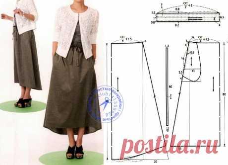 Выкройка-шаблон юбки-трапеции с поясом на кулиске с перепадом длины