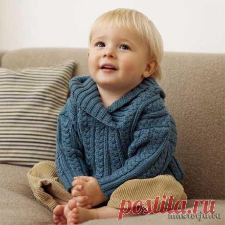 Нарядный пуловер с косами для мальчика (Вязание спицами) – Журнал Вдохновение Рукодельницы