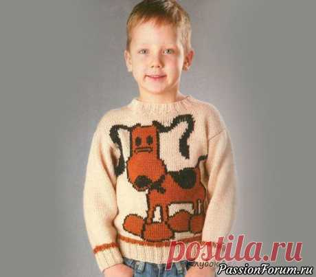 Пуловер с собачкой для мальчика. Схема и описание | Вязание спицами для детей Оригинальный детский пуловер спицами украшен вывязанной по схеме собачкой для возраста 4-5 лет. Возраст: 4-5 летМатериалы:  пряжа «Светлана» (50% шерсть, 50% акрил, 100 г/250 м) - 200 г цвета  топленого молока, 50 г коричневого, остатки черного цвета, спицы №2,5 и  №3Резинка 2x2: вяжите...