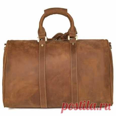 CarryBag - Кожаная багажная сумка JMD 7077B коричневого цвета