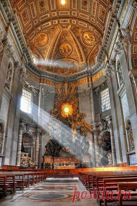 God's beam of light in St. Peter's Basilica - Rome, Italy (HDR) by farbspiel, via Flickr\u000d\u000aflickr from farbspiel | Pinterest • The world catalog of ideas