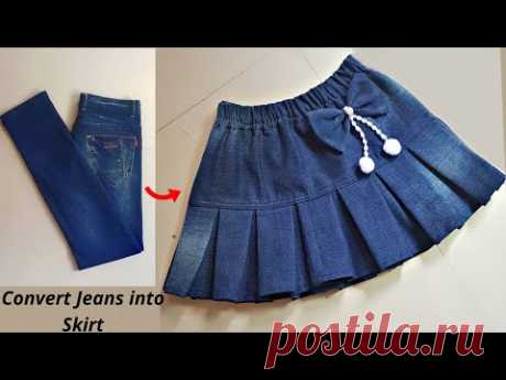 DIY Convert/Reuse old Jeans into beautiful skirt/jeans reuse idea/@Style by Radhika