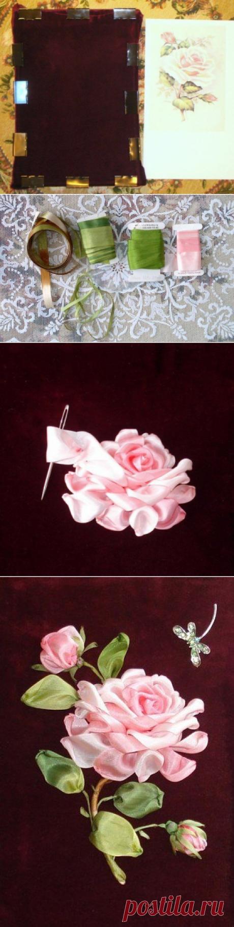 Вышивка лентами: роза. Мастер-класс. / Рукоделие