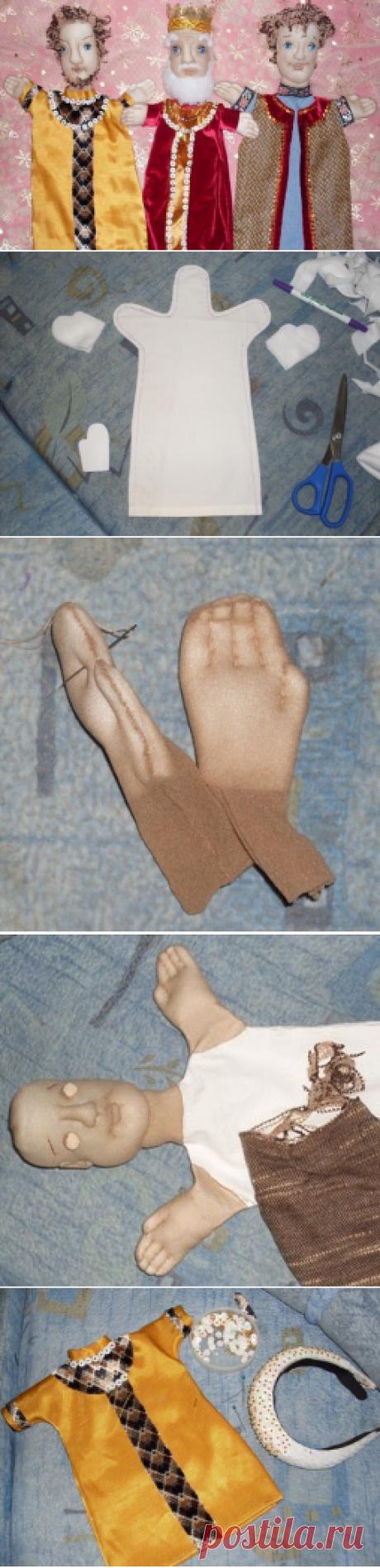 Кукла на руку, сшитая из капрона, синтепона и текстильных лоскутков.