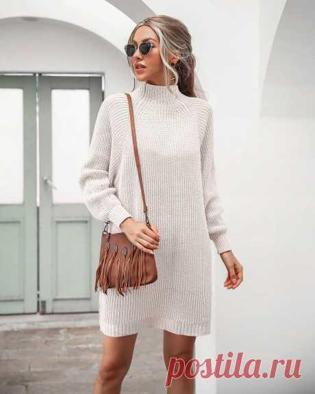 Осенне зимний новый свитер в стиле Ins от nian, модель 2020 года, платье свитер средней длины с воротником Регланом Водолазки  Детские жаккарды   реглан спицами   готовые выкройки  