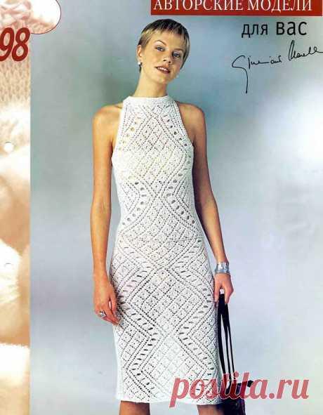 El vestido vinculado por el gancho por la cinta los rombos chinés. El vestido veraniego por la cinta de filete el esquema y la descripción |