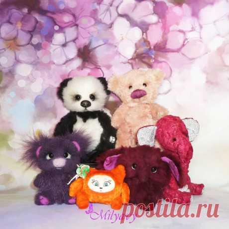 АВТОРСКИЕ КУКЛЫ И ТЕДДИ 👸🐘 в Instagram: «Решила сделать совместное фото, пока не разлетелись по домам мои #milyavy_teddy. Панда уже уехала, другие ждут мамочек. Легко ли вы…»