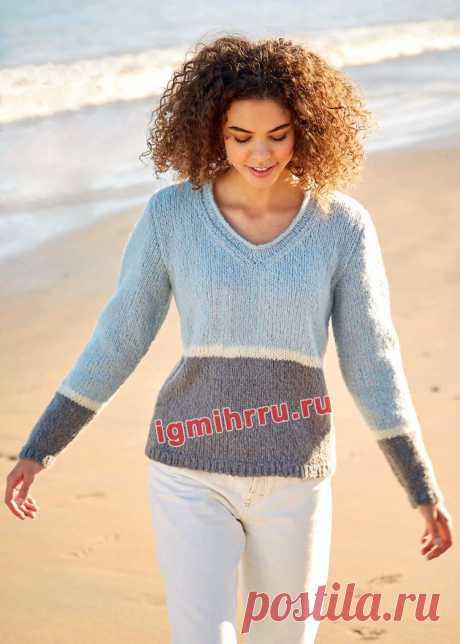 Трехцветный классический пуловер лицевой вязки. Вязание спицами со схемами и описанием