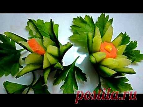 Flowers from a cucumber. Jewelry from vegetables. Decoration Of Vegetables