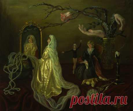 Серия картин о принцессе Диане. Три цвета времени. холст.масло. 50х60см.