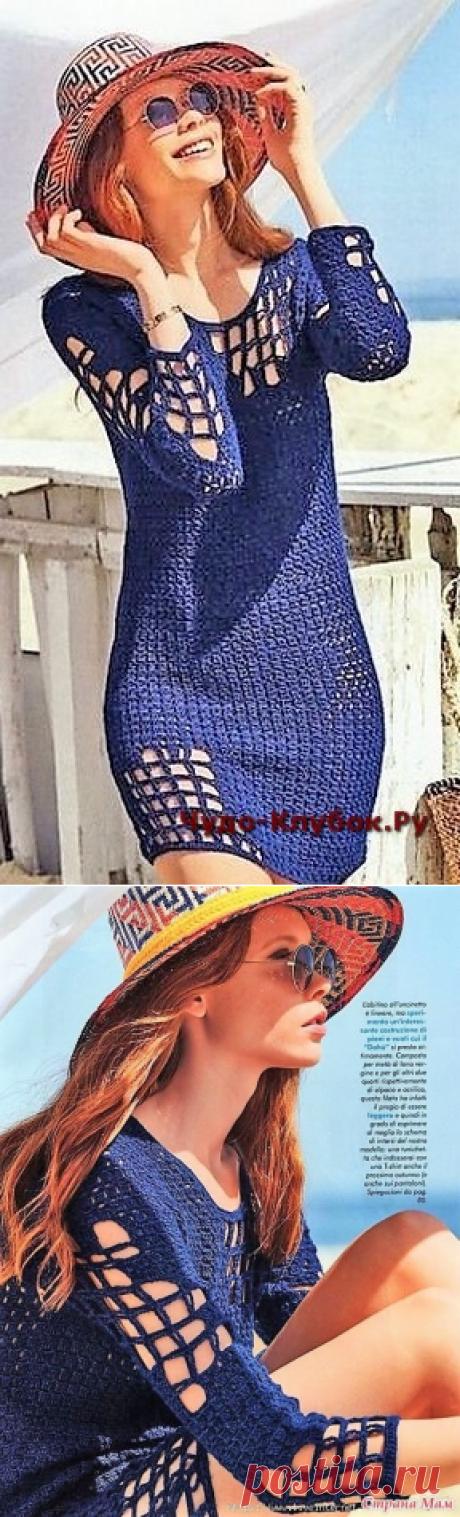 Синее платье оригинальное |сайт ЧУДО-клубок