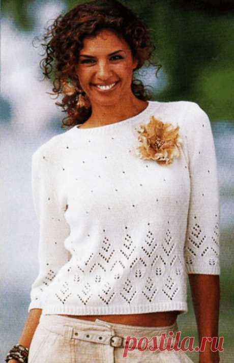 Пуловер с рукавами три четверти узором Звездное небо спицами – схема и описание вязания — Пошивчик одежды