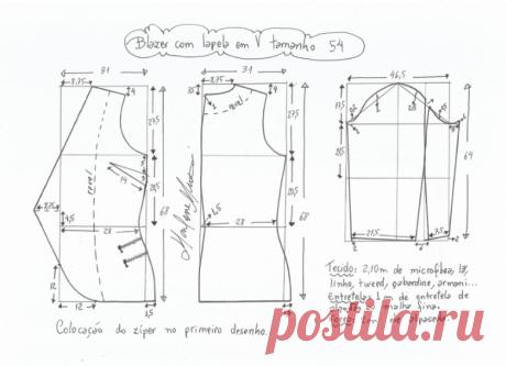 Выкройка жакета с лацканами без застежки (Шитье и крой) | Журнал Вдохновение Рукодельницы