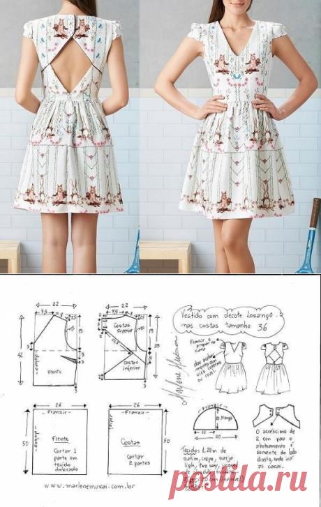 Выкройка летнего платья с открытой спиной (Шитье и крой) – Журнал Вдохновение Рукодельницы