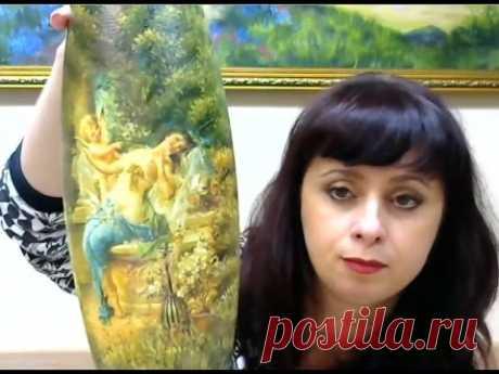 Валентина Сухова  Художественный декупаж на вазе