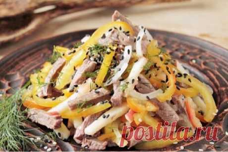 Обалденный салат с говядиной и болгарским перцем