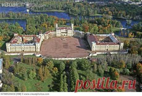 palace at Gatchina | Russia, Gatchina. Palace by A. Rinaldi (1766) aerial view [357WBU05038... | Castles\/Cool Buildings